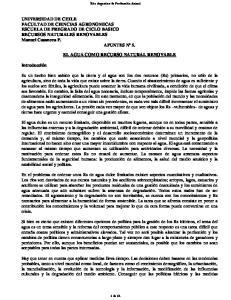 EL AGUA COMO RECURSO NATURAL RENOVABLE