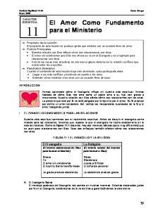 El Amor Como Fundamento para el Ministerio