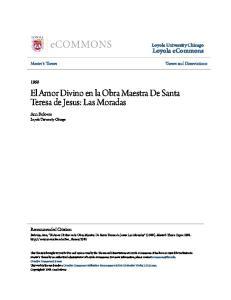 El Amor Divino en la Obra Maestra De Santa Teresa de Jesus: Las Moradas