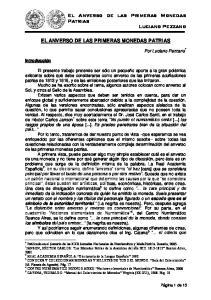 El Anverso de las Primeras Monedas Patrias Luciano Pezzano EL ANVERSO DE LAS PRIMERAS MONEDAS PATRIAS