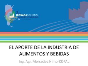 EL APORTE DE LA INDUSTRIA DE ALIMENTOS Y BEBIDAS. Ing. Agr. Mercedes Nimo-COPAL