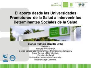 El aporte desde las Universidades Promotoras de la Salud a intervenir los Determinantes Sociales de la Salud