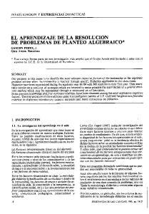 EL APRENDIZAJE DE LA RESOLUCION DE PROBLEMAS DE PLANTEO ALGEBRAICO*