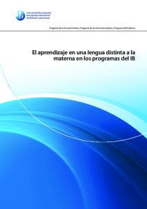 El aprendizaje en una lengua distinta a la materna en los programas del IB