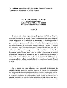 EL ARRENDAMIENTO AGRARIO Y SUS CONSECUENCIAS JURIDICAS, ECONOMICAS Y SOCIALES