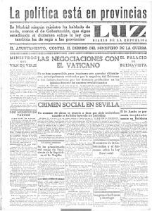 EL AYUNTAMIENTO, CONTRA EL DERRIBO DEL MINISTERIO DE LA GUERRA NEGOCIACIONES CON EL VATICANO