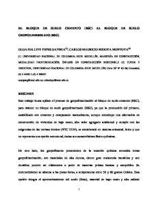 EL BLOQUE DE SUELO CEMENTO (BSC) AL BLOQUE DE SUELO