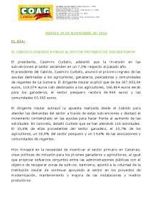EL CABILDO CONCEDE AYUDAS AL SECTOR PRIMARIO DE EUROS