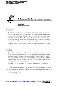 El Cantar de Mio Cid y el contexto europeo