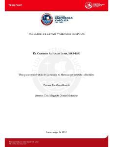 EL CARMEN ALTO DE LIMA,