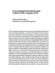 El caso nominal en purépecha según Gylberti (1558) y Lagunas (1574)