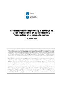 El citoesqueleto de espectrina y el complejo de Golgi. Implicaciones en su arquitectura y funcionalidad en el transporte secretor