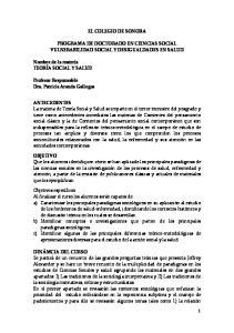 EL COLEGIO DE SONORA PROGRAMA DE DOCTORADO EN CIENCIAS SOCIAL VULNERABILIDAD SOCIAL Y DESIGUALDADES EN SALUD
