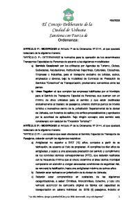 El Concejo Deliberante de la Ciudad de Ushuaia Sanciona con Fuerza de Ordenanza: