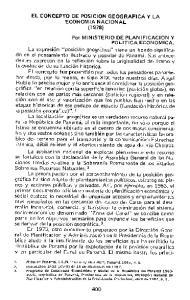 EL CONCEPTO DE POSICION GEOGRAFICA Y LA ECONOMIA NACIONAL (1978)