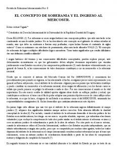 EL CONCEPTO DE SOBERANIA Y EL INGRESO AL MERCOSUR