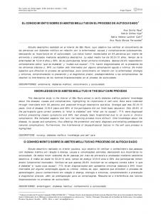 EL CONOCIMIENTO SOBRE DIABETES MELLITUS EN EL PROCESO DE AUTOCUIDADO 1