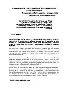 EL CONSEJO DE LA JUDICATURA FEDERAL EN EL TIEMPO DE LOS DERECHOS HUMANOS