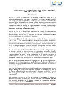 EL CONSEJO DEL GOBIERNO AUTONOMO DESCENTRALIZADO PROVINCIAL DE PASTAZA. Considerando: