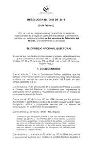 EL CONSEJO NACIONAL ELECTORAL