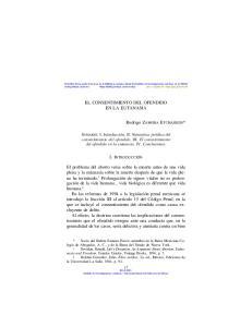 EL CONSENTIMIENTO DEL OFENDIDO EN LA EUTANASIA. Rodrigo ZAMORA ETCHARREN*
