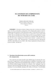 EL CONTRATO DE COMPRAVENTA DE VIVIENDA EN CUBA