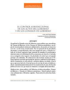 EL CONTROL JURISDICCIONAL DE LOS ACTOS DEL GOBIERNO Y DE LOS CONSEJOS DE GOBIERNO