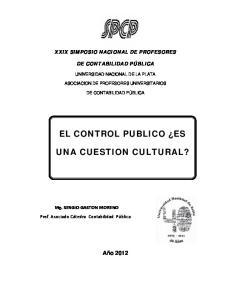 EL CONTROL PUBLICO ES UNA CUESTION CULTURAL?