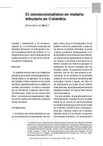 El convencionalismo en materia tributaria en Colombia