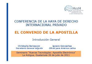 EL CONVENIO DE LA APOSTILLA