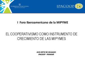 EL COOPERATIVISMO COMO INSTRUMENTO DE CRECIMIENTO DE LAS MIPYMES