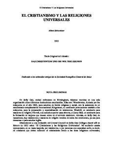 EL CRISTIANISMO Y LAS RELIGIONES UNIVERSALES