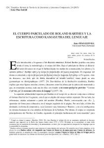 EL CUERPO PARCELADO DE ROLAND BARTHES Y LA ESCRITURA COMO KAMASUTRA DEL LENGUAJE