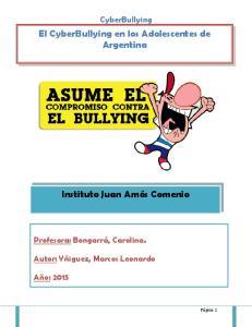 El CyberBullying en los Adolescentes de Argentina