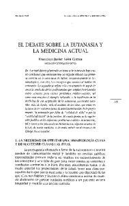 EL DEBATE SOBRE LA EUTANASIA Y LA MEDICINA ACTUAL