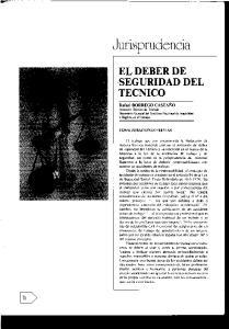 EL DEBER DE SEGURIDAD DEL TECNICO