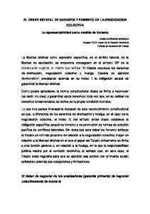 EL DEBER ESTATAL DE GARANTIA Y FOMENTO DE LA NEGOCIACION COLECTIVA. La representatividad como medida de fomento