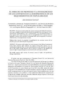 EL DERECHO DE PROPIEDAD Y LA INTANGIBILIDAD DE LOS CONTRATOS EN LA JURISPRUDENCIA DE LOS REQUERIMIENTOS DE INAPLICABILIDAD