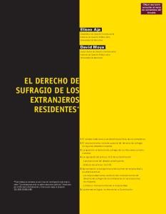 EL DERECHO DE SUFRAGIO DE LOS EXTRANJEROS RESIDENTES *