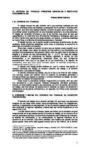 EL DERECHO DEL TRABAJO: PRINCIPIOS GENERALES E INSTITUTOS FUNDAMENTALES