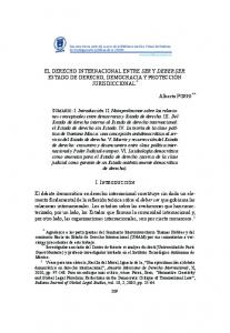 EL DERECHO INTERNACIONAL ENTRE SER Y DEBER SER: ESTADO DE DERECHO, DEMOCRACIA Y PROTECCIÓN JURISDICCIONAL *