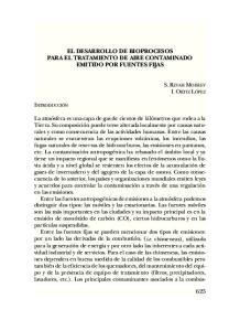 EL DESARROLLO DE BIOPROCESOS PARA EL TRATAMIENTO DE AIRE CONTAMINADO EMITIDO POR FUENTES FIJAS