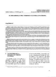 EL DESARROLLO DEL TURISMO CULTURAL EN EUROPA