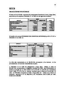 El detalle de la cuenta INTERESES POR CREDITOS OBTENIDOS por $ a Diciembre 31 de es: