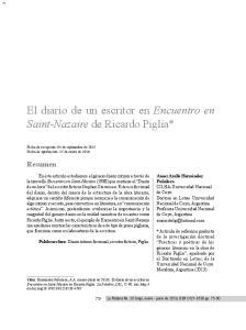 El diario de un escritor en Encuentro en Saint-Nazaire de Ricardo Piglia*
