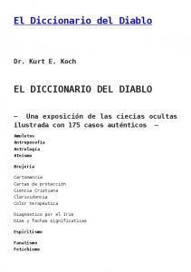 El Diccionario del Diablo EL DICCIONARIO DEL DIABLO