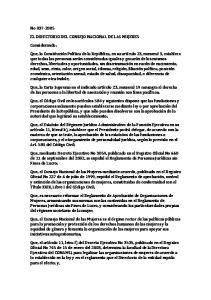 EL DIRECTORIO DEL CONSEJO NACIONAL DE LAS MUJERES