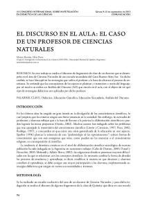 EL DISCURSO EN EL AULA: EL CASO DE UN PROFESOR DE CIENCIAS NATURALES