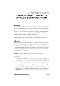EL ECUMENISMO COLOMBIANO EN CONTEXTO DE POSMODERNIDAD