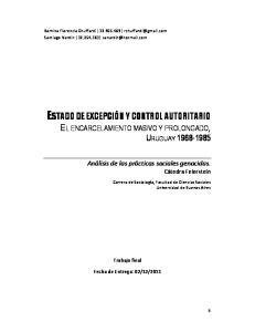 EL ENCARCELAMIENTO MASIVO Y PROLONGADO, URUGUAY